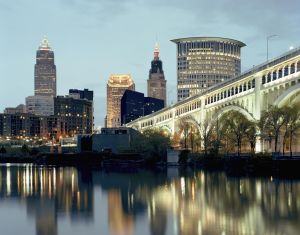 dusk view of downtown Cleveland Skyline
