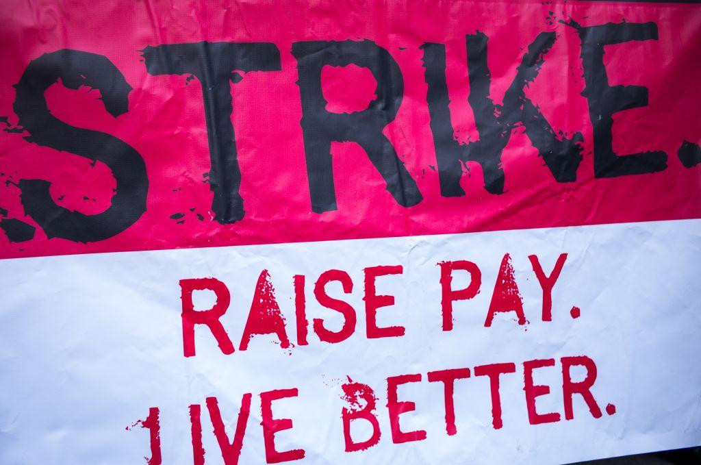 Labor Protest March In Manhattan