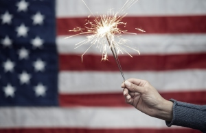 Sparkler in front of American flag