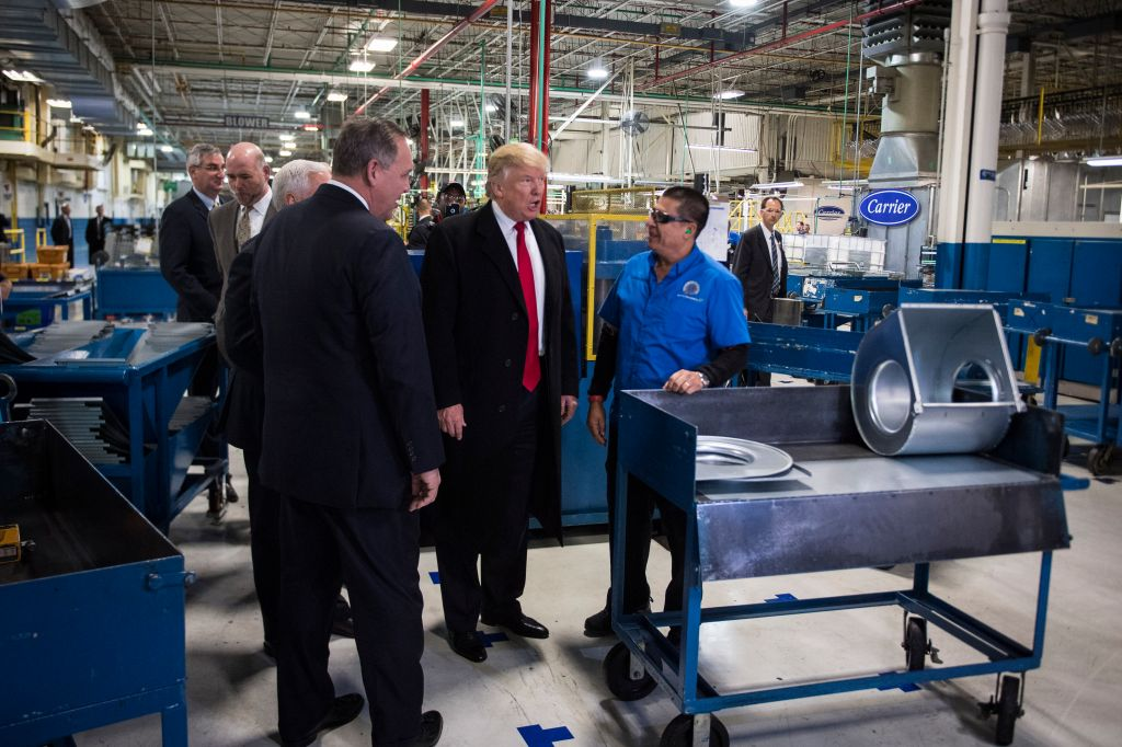Republican presidential-elect Donald Trump and Vice President-elect Mike Pence at Carrier in Indianapolis Indiana