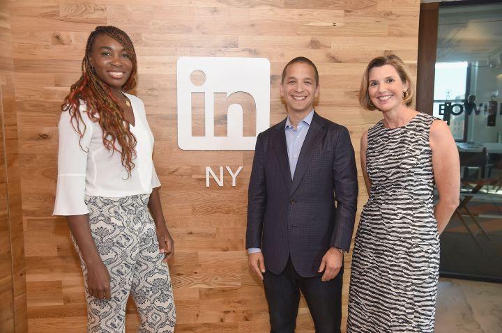 Venus And Sallie Krawcheck With LinkedIn Executive Editor Dan Roth
