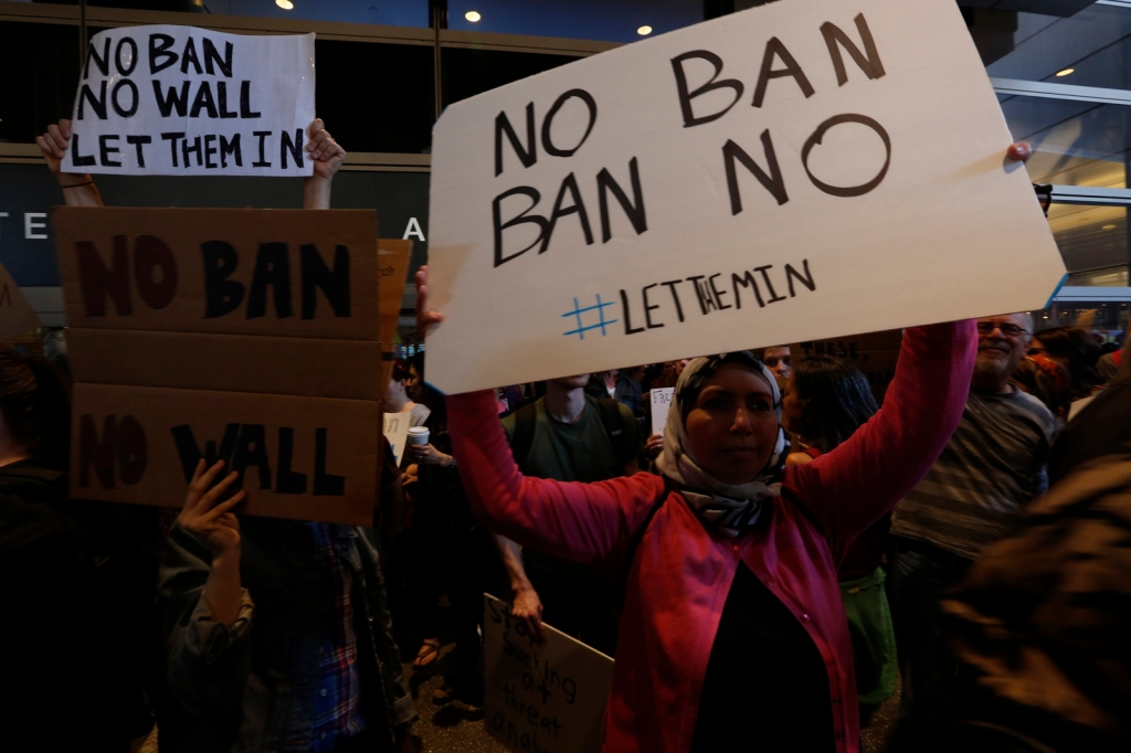 Protestors Rally Against Muslim Immigration Ban At LAX