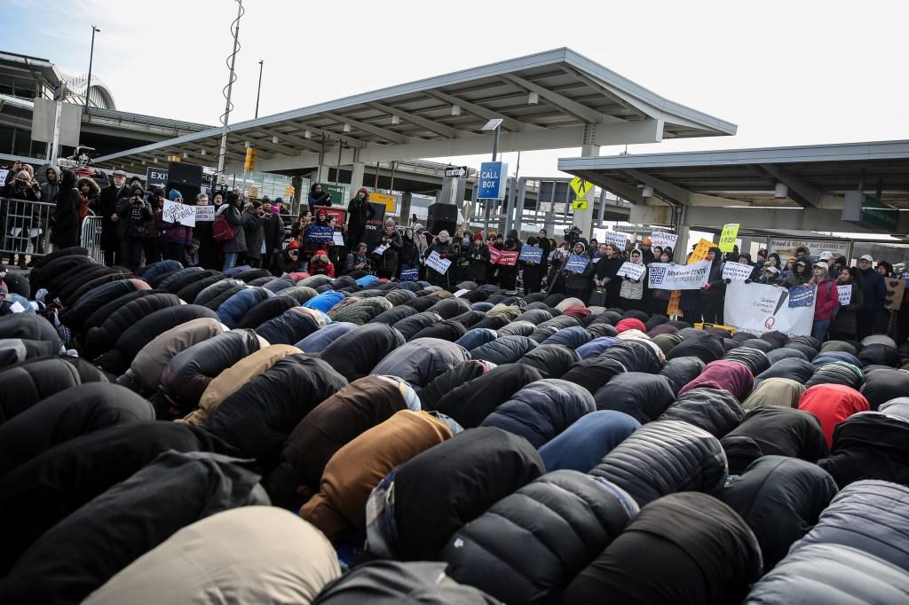 Muslims perform Friday Prayer at JFK Airport