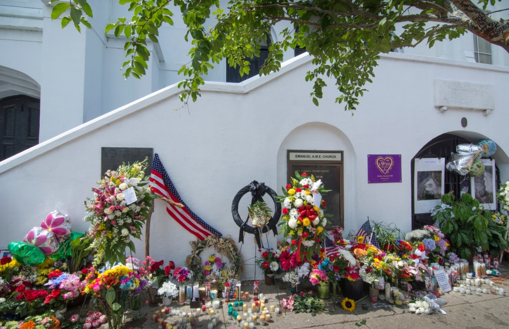 Famous Emanuel A.M.E. Church in Charleston South Carolina flowers and messages and signs left after murder of 9 people