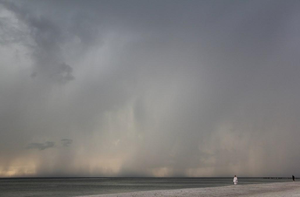 Torrential rain at the beach along the coastline