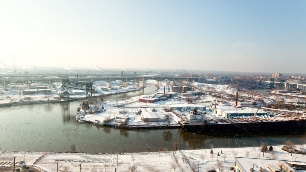 Wintertime Industrial Riverfront