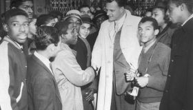 Billy Graham Talking With Harlem Youths