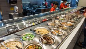 Chafing dishes inside Panda Express, Chinese fast food.