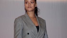 Rihanna attends the conference 'GPE Financing Conference, an Investment in the Future'