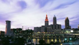 Skyscrapers lit up at dusk, Cleveland, Ohio, USA