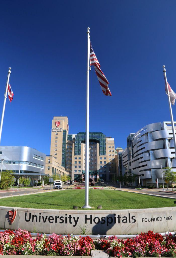 The landmark University Hospital of Cleveland, Ohio, United States