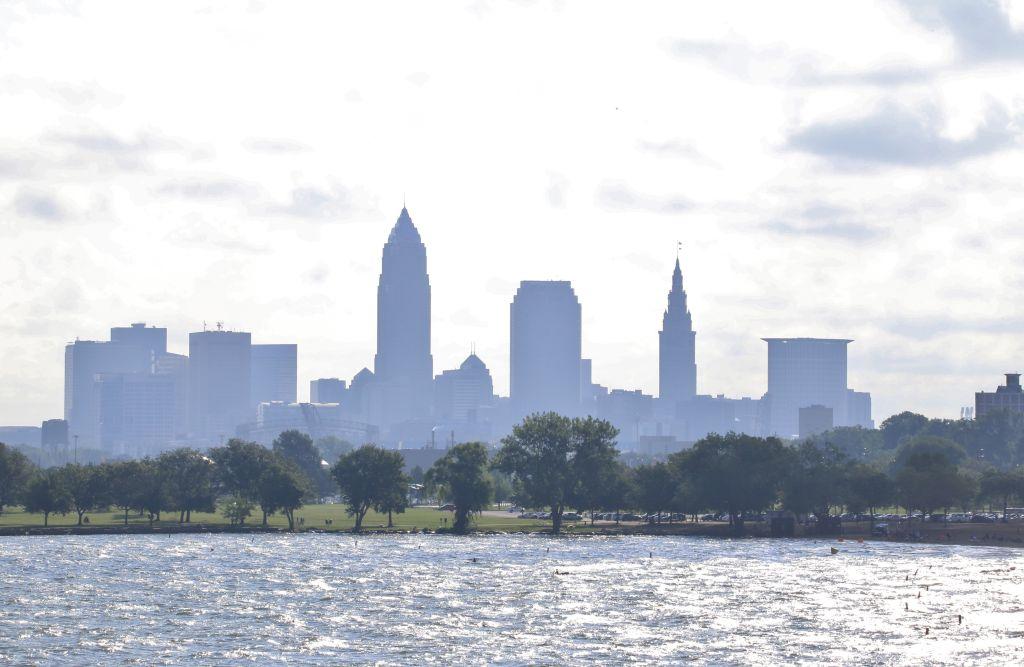 Summer haze over the Cleveland skyline