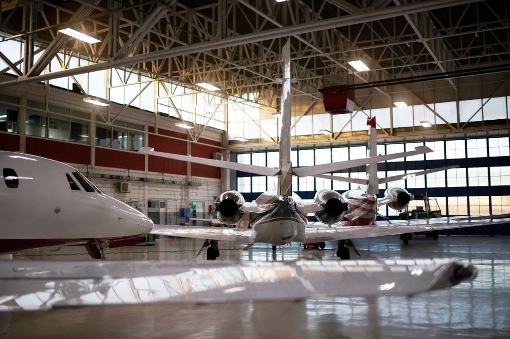 Aircraft in the hangar