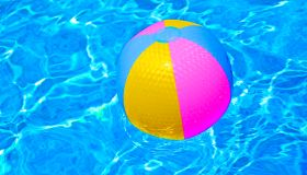 High Angle View Of Colorful Ball On Swimming Pool