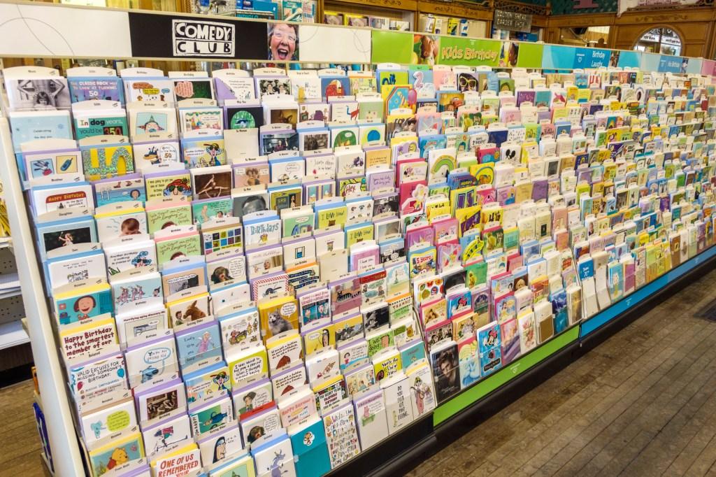 Greeting cards retail display inside Chenoa Pharmacy Schuirman's Drug Store 1889.