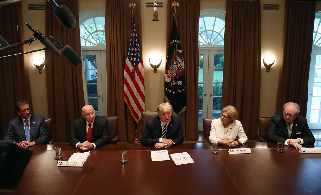 President Trump Meets With Members Of Congress In The White House Cabinet Room