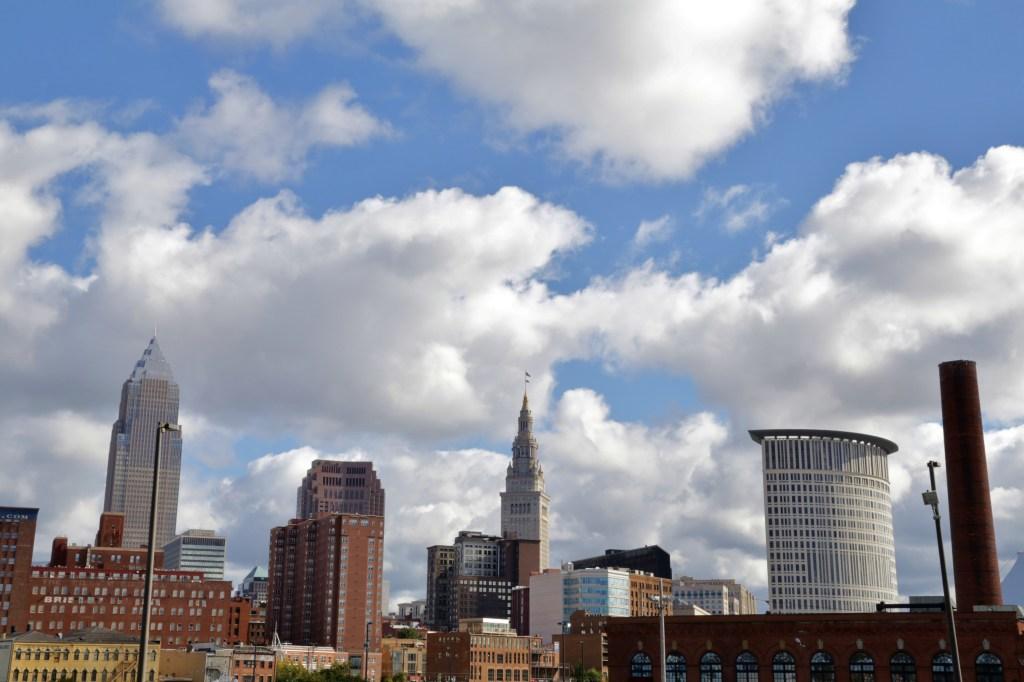 Spring time sky over Cleveland skyline
