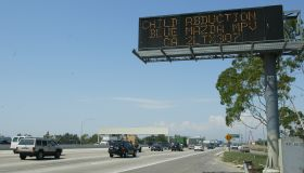 (Orange, CA) (8/20/03) An Amber Alert for two missing girls is posted on a freeway sign along the 57
