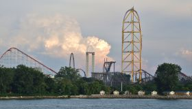 Roller coasters rising in the sky, Cedar Point Amusement Park, Sandusky, Ohio, USA