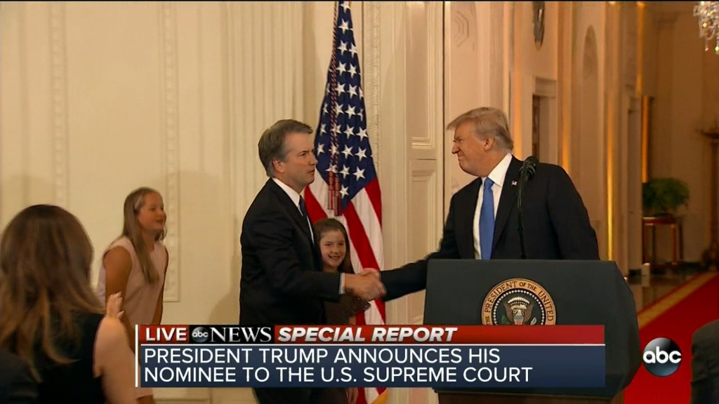 President Trump taps federal appeals court Judge Brett Kavanaugh for Supreme Court as seen on ABC.
