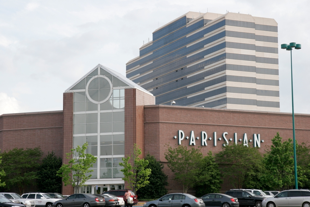The exterior of Parisian department store at Riverchase Galleria Mall.