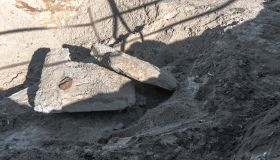 concrete waste at a construction site