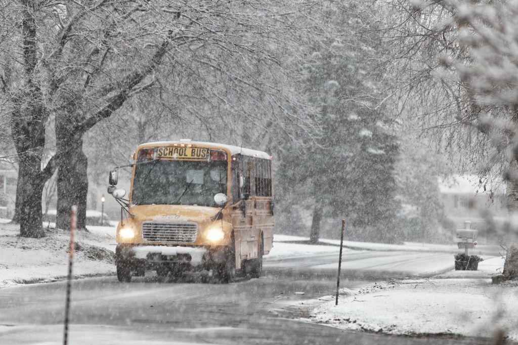 School Bus in Winter Blizzard