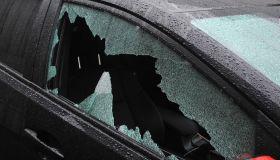 Passenger car with broken window