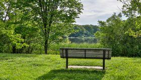 Bench near Horseshoe Lake, Shaker Heights, Ohio, USA