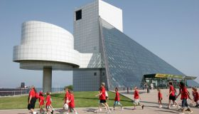 The exterior of the Rock and Roll Hall of Fame.