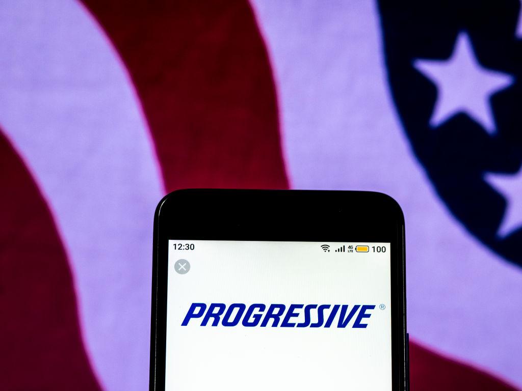 Progressive Corporation Car insurance company logo seen...