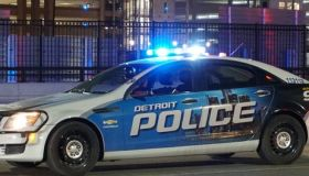 Editorial - Close-up of a Detroit police vehicle with flashing lights