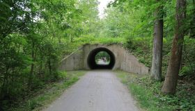 Towpath recreational trail and railroad tunnel, Cuyahoga Valley National Park, Peninsula, Ohio, USA