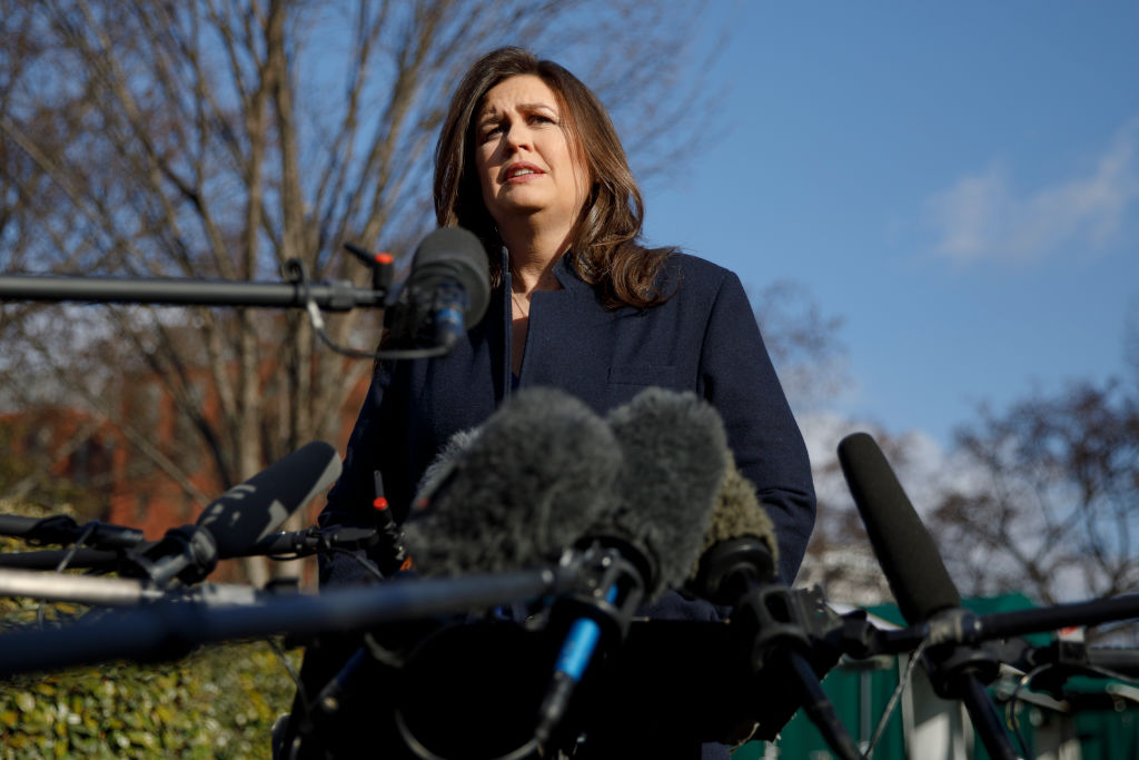 White House Press Secretary Sarah Sanders Speaks To The Media Outside The White House