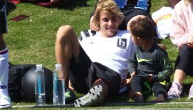 Justin Bieber playing soccer