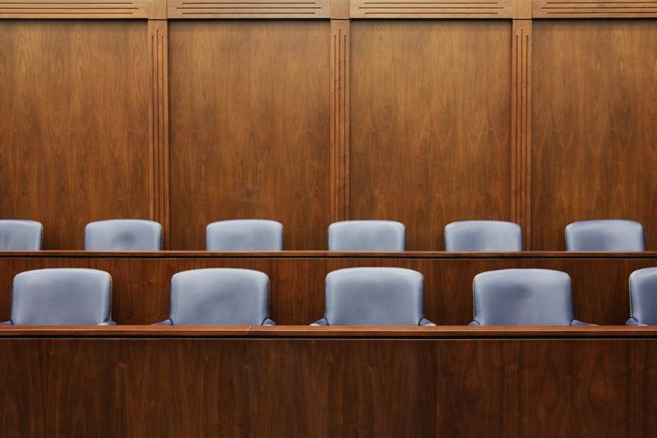 Empty chairs in jury box