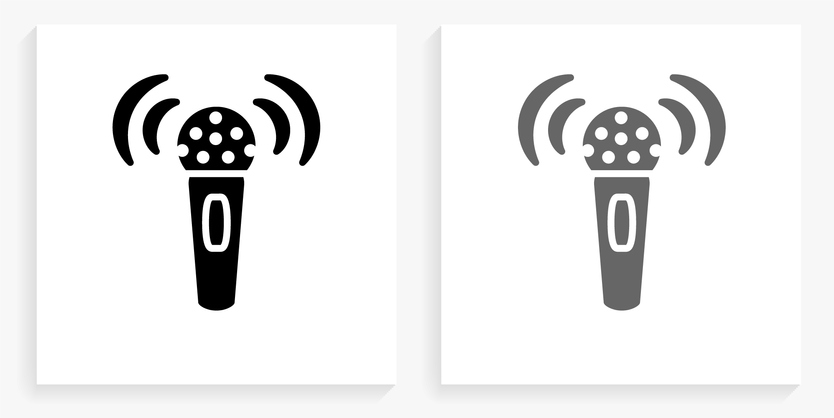 Broadcasting Microphone Black and White Square Icon