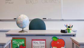 Empty desk of teacher in classroom
