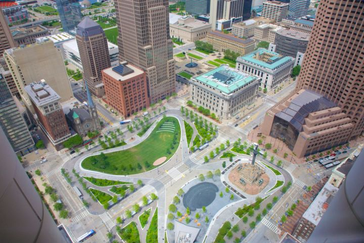 Aerial view of downtown Cleveland's Public Square