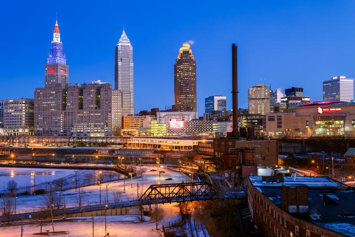 Skyline, Cleveland, Carnegie Avenue, Ohio, America