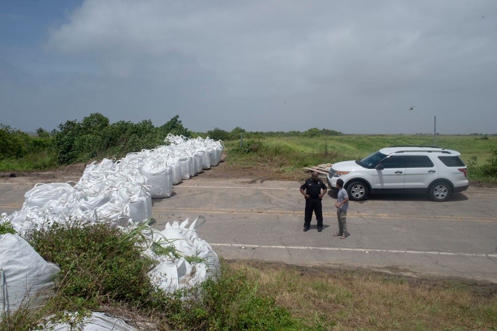 Sandbags and barricades erected throughout New Orleans and...