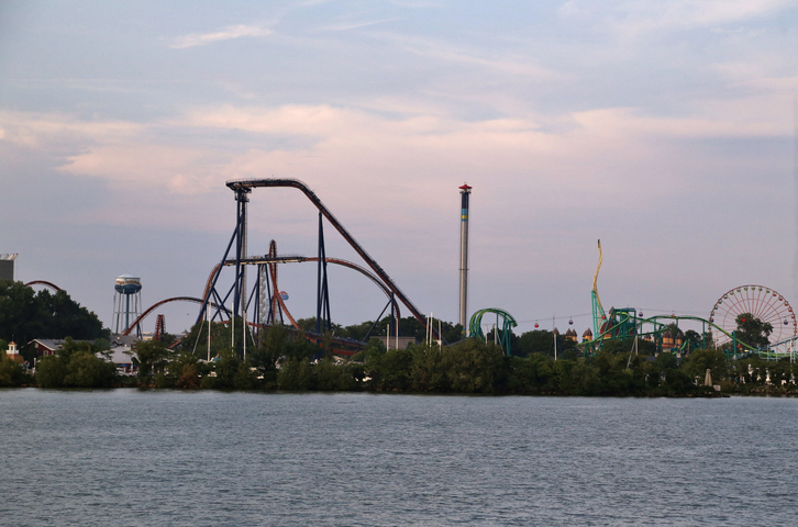 Thrill ride at Cedar Point Amusement Park, Sandusky, Ohio, United States
