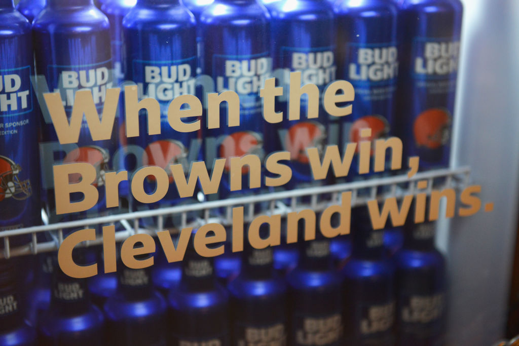 """Bud Light And The Cleveland Browns Unveil the """"Bud Light Cleveland Browns Victory Fridge"""" In Cleveland With The Help Of Browns Legends Felix Wright And Frank Stams"""
