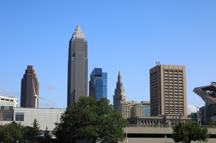Downtown Cleveland city skyline in Ohio USA
