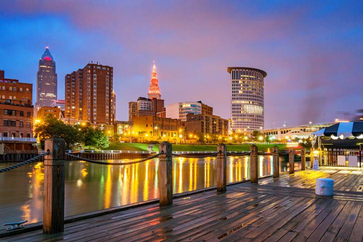 Skyline of downtown Cleveland Ohio USA