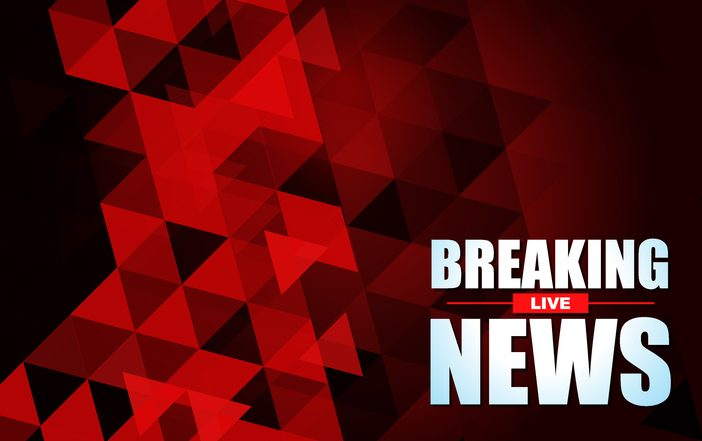 Live Breaking News headline in red color background