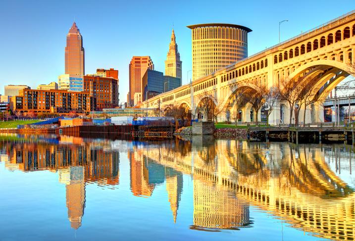 Cleveland Skyline reflecting on the Cuyahoga River