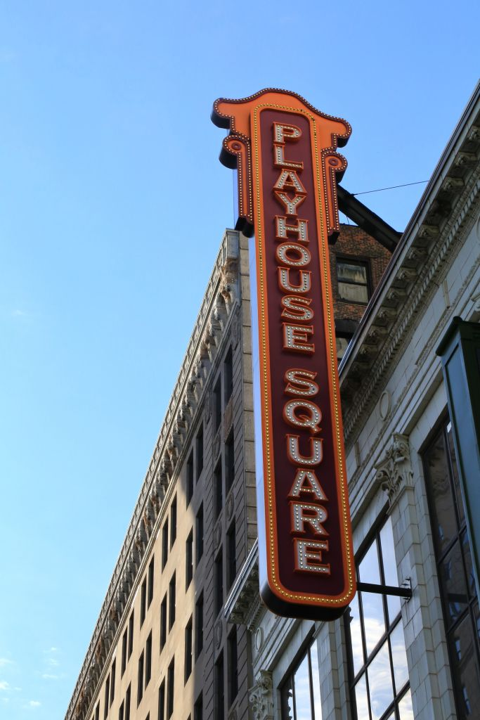 Overhead neon sign at Cleveland Playhouse Theater, Cleveland, Ohio, USA