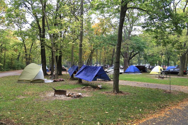 Public campground, Marblehead, Ohio, USA