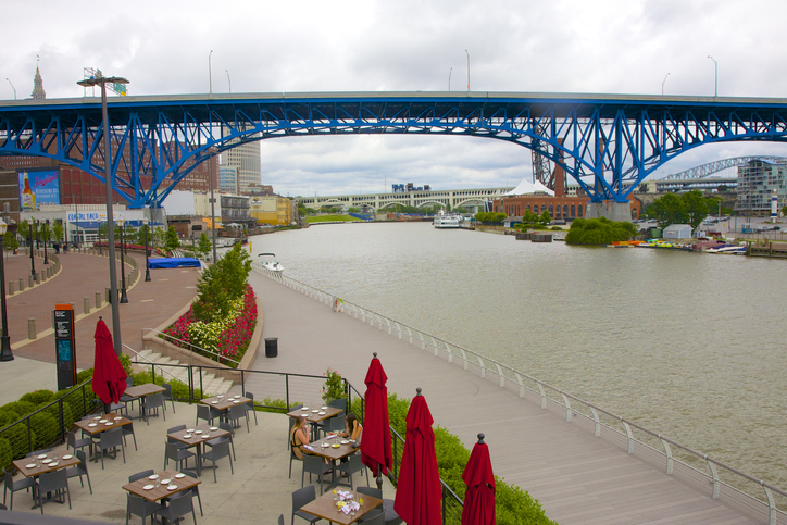 Restaurant, boardwalk, river and bridge, Cleveland
